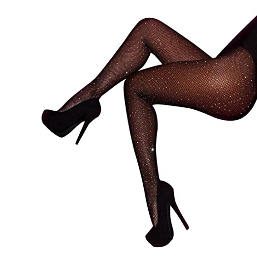 857e2bb17918a Image Unavailable. Image not available for. Color: Women's Rhinestone  Stockings Fishnet Pantyhose Slim Hollow Out ...