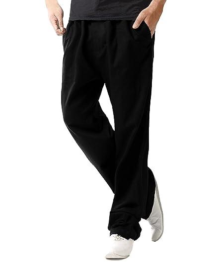 0ccc853a75a MODCHOK Homme Pantalons Jogging Long Pants Loose Coupe Droite Lin Coton  Sport Décontracté Noir M
