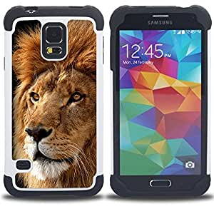 For Samsung Galaxy S5 I9600 G9009 G9008V - Lion Mane Powerful Royal Animal King Jungle /[Hybrid 3 en 1 Impacto resistente a prueba de golpes de protecci????n] de silicona y pl????stico Def/ - Super Marle