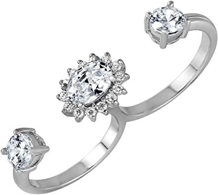 Clear Cubic Zirconia Open Connected Double Ring Rhodium Plated Sterling Silver