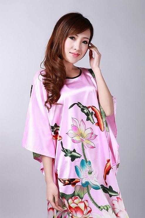 Bigood mujer Lotus Carp rayón pijama camisón pijamas casa vestido camisón transparente: Amazon.es: Ropa y accesorios
