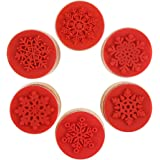 DECORA 6 Pieces Christmas Snowflake Wooden Rubber Stamp for Christmas Themed Decoration and Card Scrapbooking Design