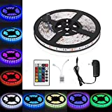 Pilee 16.4ft/5m Flexible LED Light Strips, 300 Units SMD 3528 LEDs, 12V DC Flexible LED Strip Lights, waterproof, Lighting Strips, LED Tape, for Gardens/Homes/Kitchen/Cars/Bar (RGB)