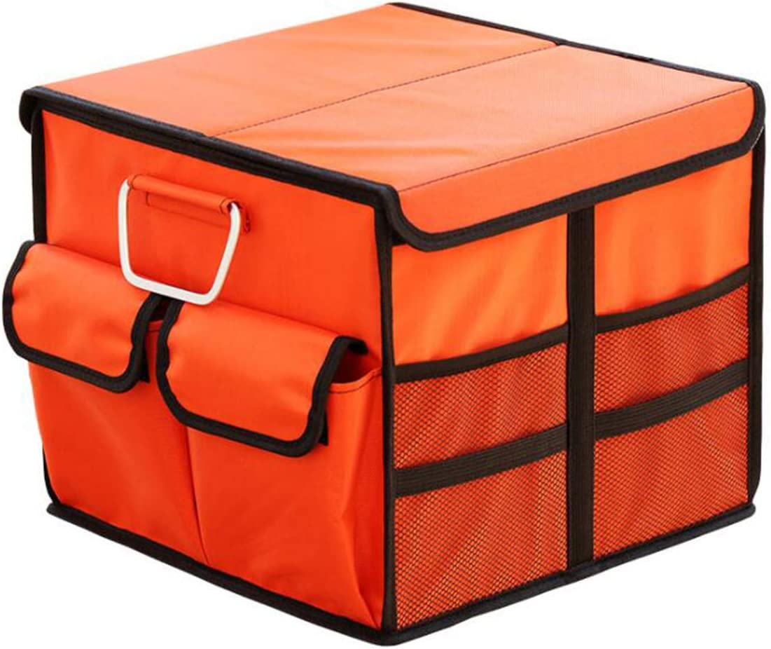 BYCDD Trunk Organizer for Car Foldable Portable Car Trunk Organizer Storage with Metal Handle and with Lid Auto Car Storage Organiser Capacity 36L,Orange/_35x35x30CM