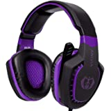 Anivia AH28 Gaming Headset Xbox One PS4 PC, Noise Isolating Over Ear Headphones with Mic, Volume Control, Bass Surround, Soft Memory Earmuffs for Laptop Mac Phones Nintendo Switch Games-Black Purple