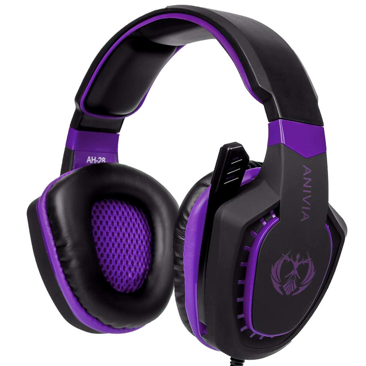 Anivia AH28 Gaming Headset Xbox One PS4 PC, Noise Isolating Over Ear Headphones with Mic, Volume Control, Bass Surround, Soft Memory Earmuffs for Laptop Mac Phones Nintendo Switch Games-Black Purple by Anivia