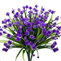 Artificial Fake Flowers 4 Bundles Outdoor Uv Resistant Greenery Shrubs Plants Indoor Outside Hanging Planter Home Garden Decor Purple