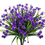 #7: Artificial Fake Flowers, 4 Bundles Outdoor UV Resistant Greenery Shrubs Plants Indoor Outside Hanging Planter Home Garden Decor£¨Purple£