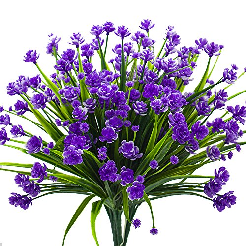 Artificial Fake Flowers, 4 Bundles Outdoor UV Resistant Greenery Shrubs Plants Indoor Outside Hanging Planter Home Garden Decor£¨Purple£ - Flower Garden Decor