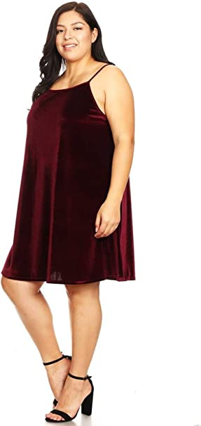 SWEETKIE Plus Size Velvet Sleeveless High Neck Trapeze Dress, Mini Length