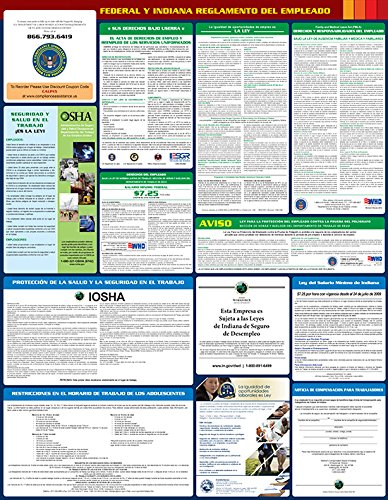 "Compliance Assistance: Indiana - 2018 - All In One State and Federal Spanish - Up to Date 2018 Ready, 24""x 32.8"" , Thick Durable Lamination, Compact, OSHA State & Federal Compliant"