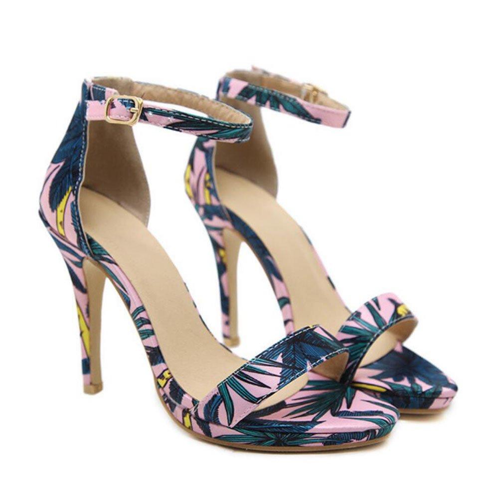 a5b41a23 Outlet Para mujer Señoras PU Hebilla de verano Zapatos de tacón alto Tacón  cónico Sandalias de