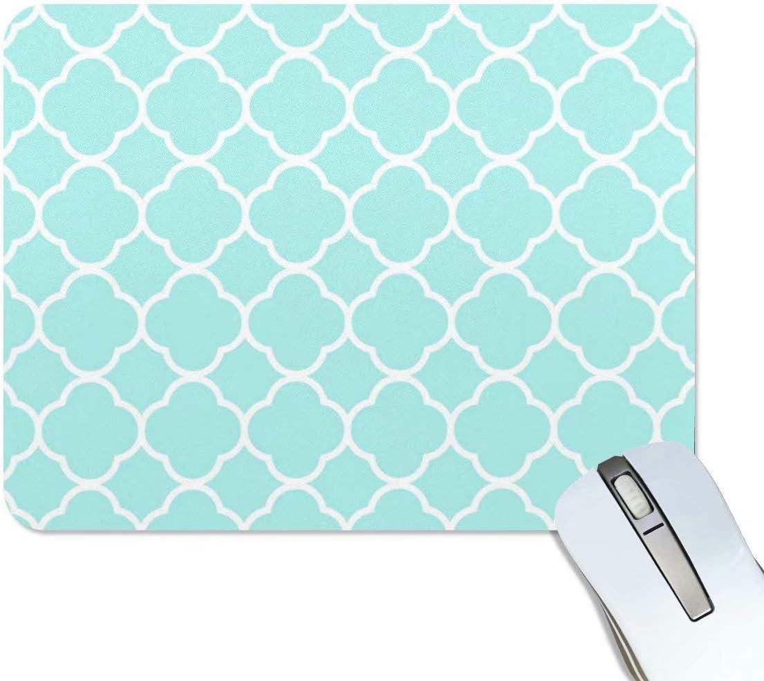 Mouse Pad Mint Quatrefoil Pattern Non-Skid Natural Rubber Back Teal Turquoise Design Gaming Mouse Pad Soft Cute Desk Decor Mousepad for Computer Laptop