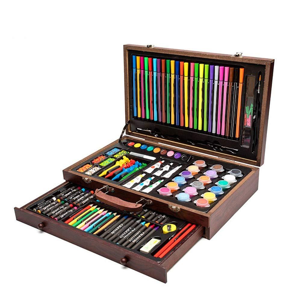 HQYDBB Set d'Arte Premium, Set di Tre-Strati in Legno per acquerelli per acquerelli per Bambini, Materiale d'Arte per Pittura a Colorei