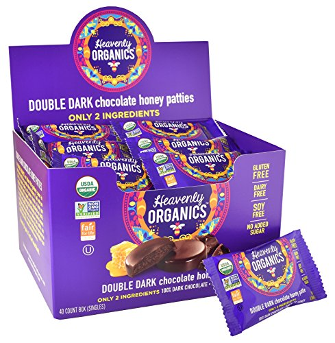 Heavenly Organics Double Dark Chocolate Honey Patties (40 Singles) 100% Organic Cocoa - 100% Organic Raw White Honey; Non-GMO, Fair Trade, Kosher, Dairy & Gluten Free, No Sugar Added (Candy Bars Selling)