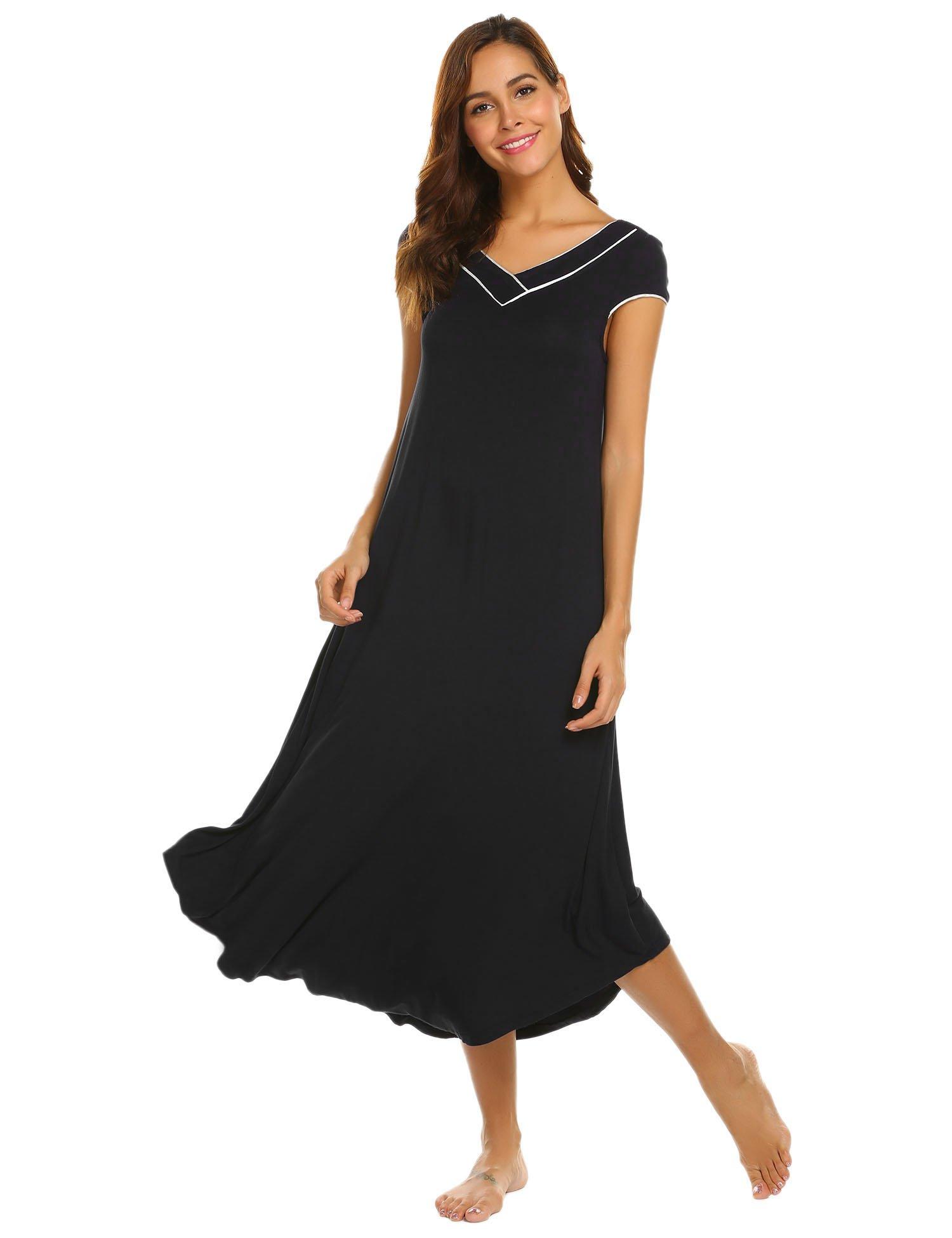 Ekouaer Womens Long Nightgown Short Sleeve Nightshirt Full Length Lounge Dress,Black,XX-Large