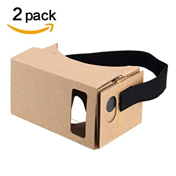 Google Cardboard 2 Pack Virtual Real Store 3d Vr Headsets Diy Virtual Reality Box Glasses With Clear Optical Lens And Comfortable Head Strap For All