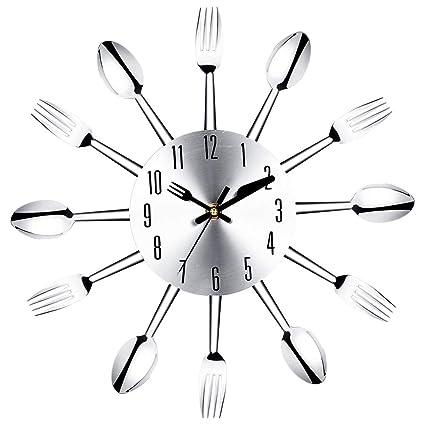 MSQL Silencioso Reloj De Pared No-Tic DIY Restaurante De Cocina Cubiertos Reloj De Decoro