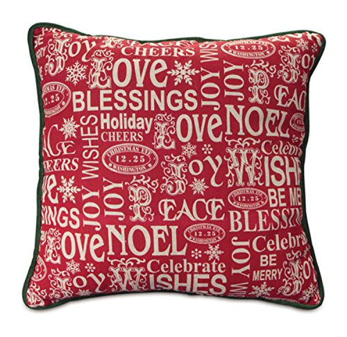 "16"" Red ""Love, Noel, Blessing and Joy"" Christmas Throw"