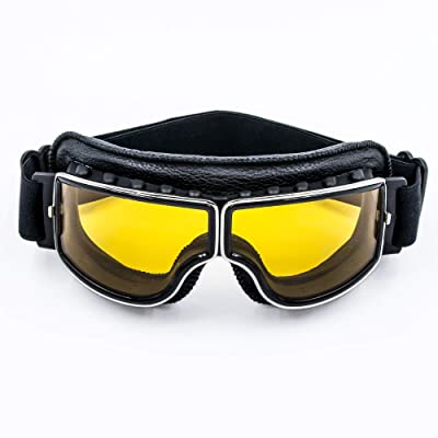 Cynemo Motorcycle Goggles Vintage Pilot Leather Riding Glasses Scooter ATV Off-Road Anti-Scratch Dust Proof Eyewear for Men Women Adult: Automotive
