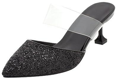 Mofri Women's Stylish Sequined Pointed Toe Clogs Shoes   Clear Strap Glitter   Slide On Kitten Heels Sandals by Mofri
