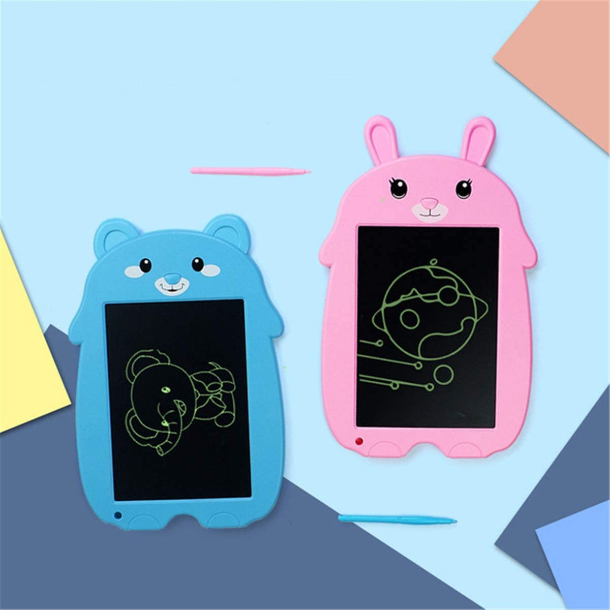 Vee U Feng 8.5-Inch LCD Writing Tablet Cartoon Image Writing Board Doodle Board Drawing Pad ,B 2 Pack for Kids and Adults at Home,School and Office