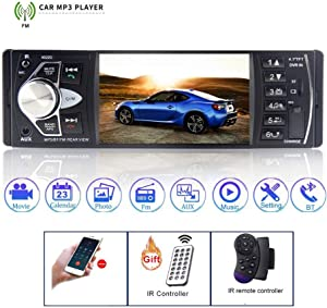 DAETNG Car Radio 4.1 '' Digital Screen Auto Audio Stereo, 460W FM Bluetooth Support Steering Wheel Remote Control Intelligent Dynamic Trajectory Reverse Camera