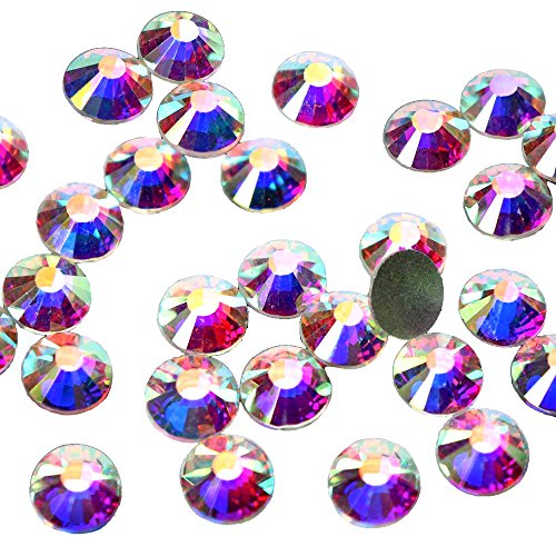 144pcs/lot SS40(8mm) AB Color Flat Back Brilliant Round Rhinestones Glass Stones Glitter Gems (SS40, AB Color)