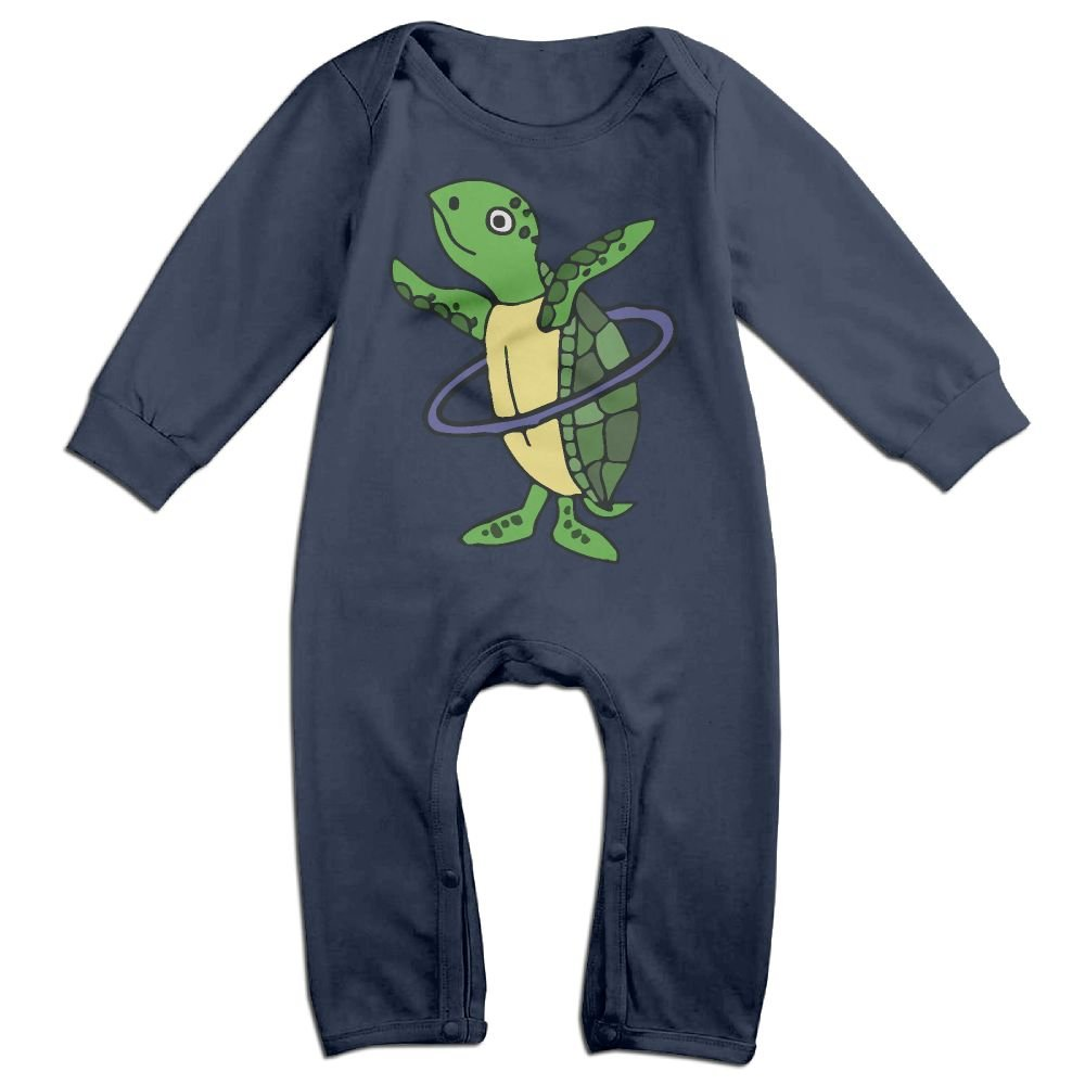 Mri-le1 Baby Girls Long Sleeved Coveralls Sea Turtle Playing Hula Hoop Baby Rompers
