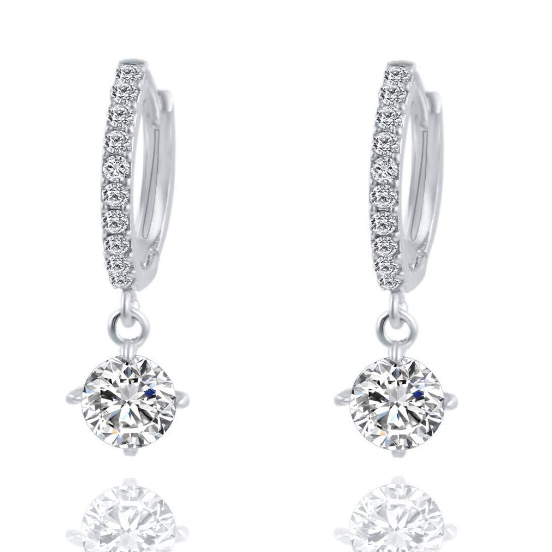 FRC0LT Fashion 1 Pair Women Fashion Crystal Rhinestone Round-Shaped Stud Earrings (Silver, alloy)