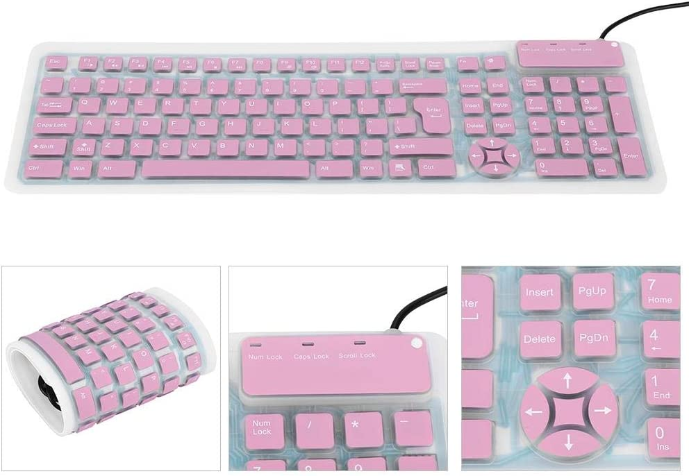 Silicone Wired Keyboard Foldable Flexible Rollup USB Wired Silicone Keyboard for PC Notebook Laptop Portable Keyboard Pink
