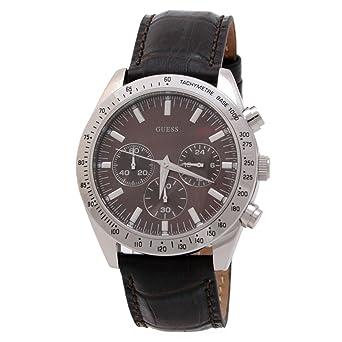 508fdfa12d45 Guess - W12004G2 - Montre Homme - Quartz Analogique - Cadran Marron - Bracelet  Cuir Marron
