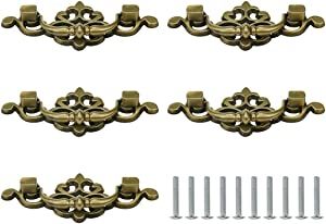 Geesatis 5 Pcs Vintage Furniture Pulls and Handles, Hole Distance 2.5 inch Handle Pull, Cabinet Closet Door Drawer Retro Pull Handle, Green Bronze Tone