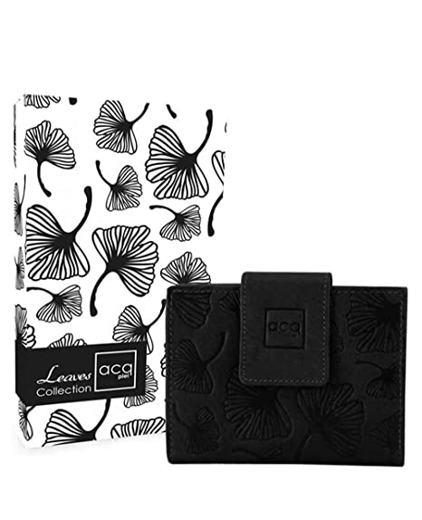 Acq Leaves Monedero Billetero Piel Negro 12cm 0.12Kg: Amazon ...