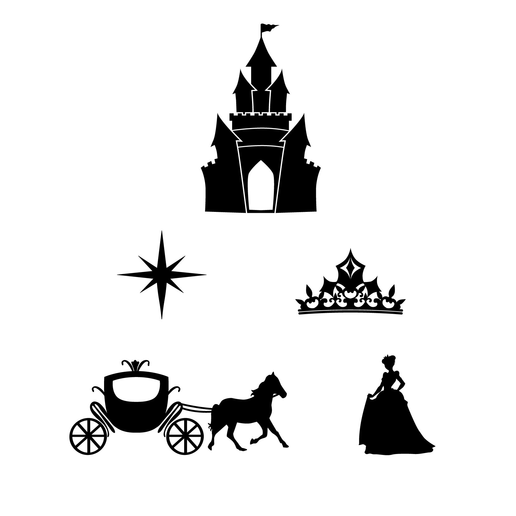Princess Icons - 10 sets, 50 icons, Black - Vinyl Wall Art Decal for Homes, Offices, Kids Rooms, Nurseries, Schools, High Schools, Colleges, Universities, Interior Designers, Architects, Remodelers