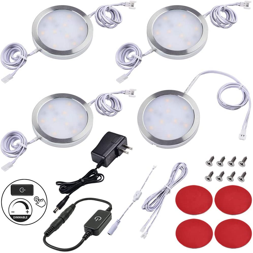 Lvyinyin Under Cabinet Lighting Dimmable LED Puck Lights Kit, Touch Dimmer, Wall Plug Adapter, Thin Profile, Linkable Light Bulbs for Kitchen Counter Closet Lighting, 4 Lights, Warm white, White Cable