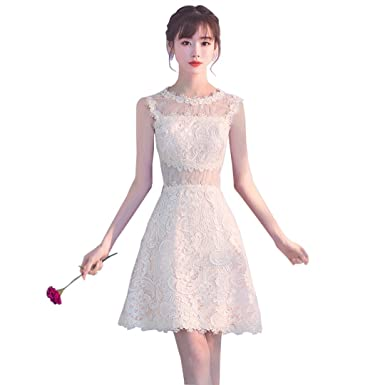 TOPJIN Juniors Short Sweet Lace Wedding Homecoming Graduation Prom Cocktail Party Dresses Champagne UK4