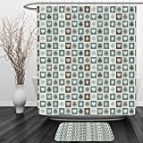 Vipsung Shower Curtain And Ground MatCasinos Card Suits Hearts Spades Diamonds Clubs Pattern Gaming Houses AddictionShower Curtain Set with Bath Mats Rugs