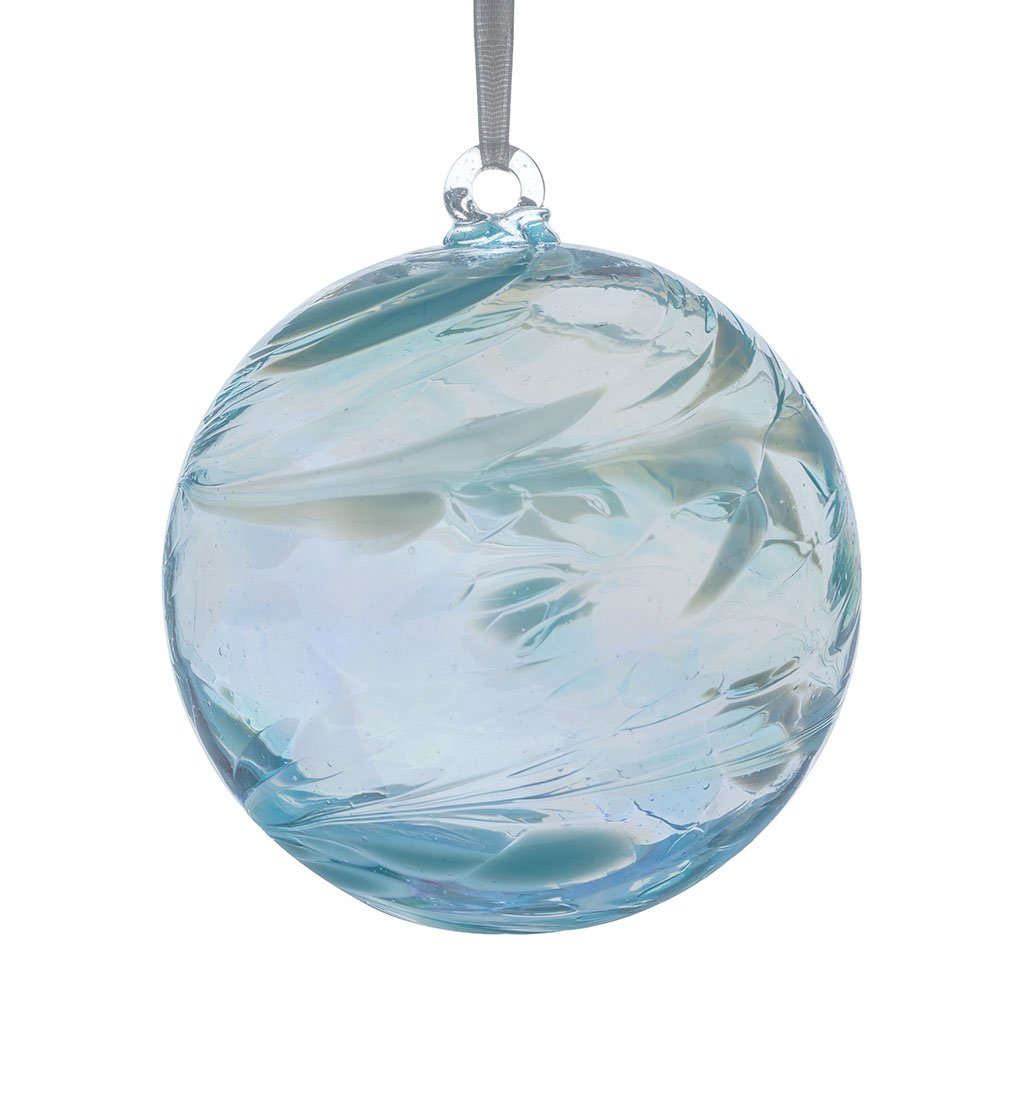 Friendship ball ornament - Sienna Glass March Birthstone Friendship Ball Aquamarine