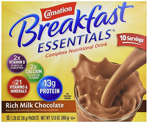 Instant Breakfast Carnation (Carnation Breakfast Essentials, Rich Milk Chocolate, 10 ct, 1.26 oz each)