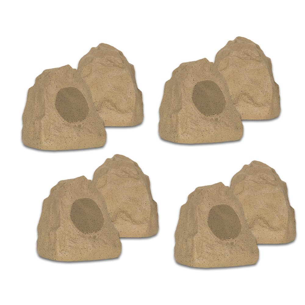 Theater Solutions 8R4S Outdoor Sandstone Rock 8 Speaker Set for Yard Patio Pool Spa