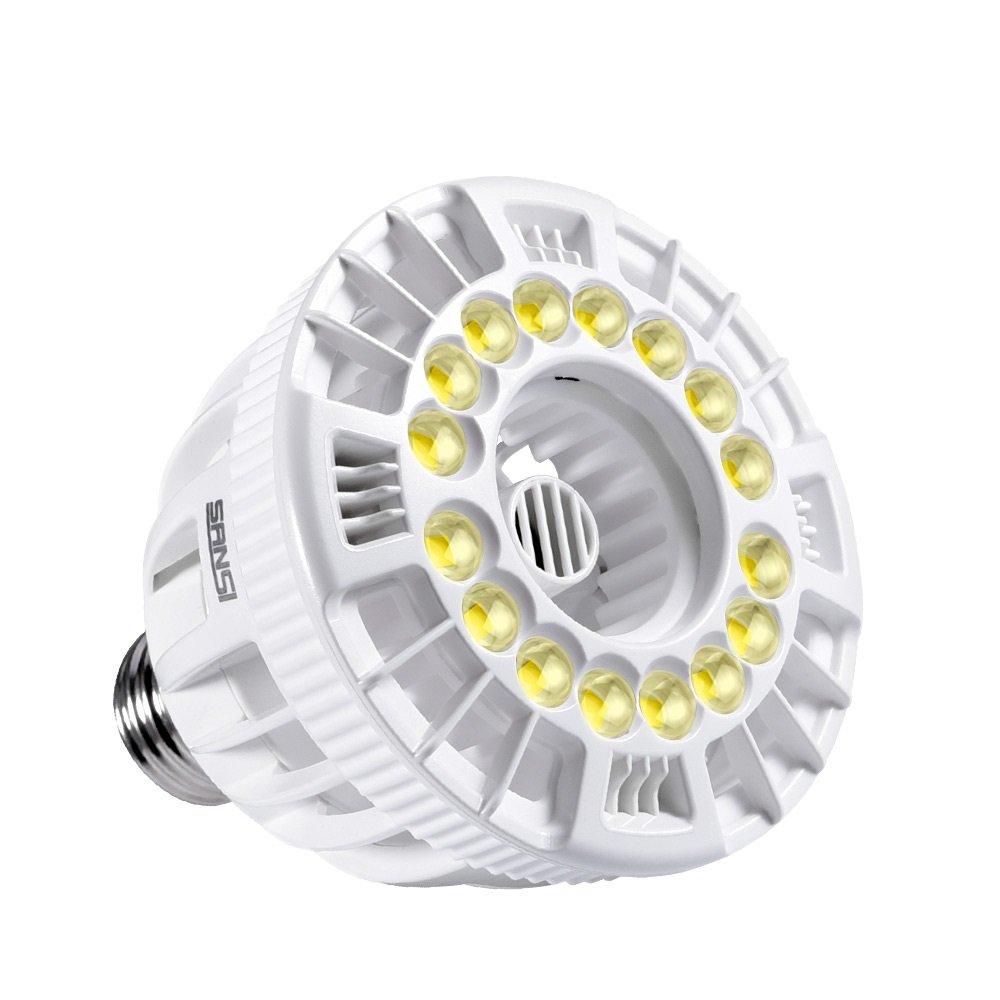 SANSI 15W LED Grow Light Bulb Full Spectrum Grow Lights for Indoor Plants, Plant Grow Light for Hydroponic Greenhouse Office House Succulent Veg Flower, E26 Plant Light Bulb Sunlight White, Full Cycle