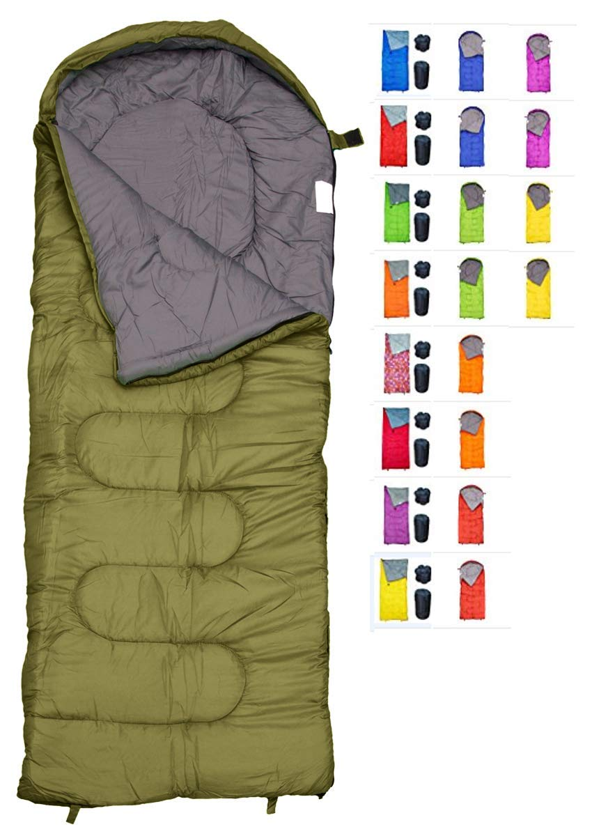 REVALCAMP Sleeping Bag for Cold Weather - 4 Season Envelope Shape Bags by Great for Kids, Teens & Adults. Warm and Lightweight - Perfect for Hiking, Backpacking & Camping (Olive - Envelope Left Zip) [並行輸入品] B07R3J7LQG