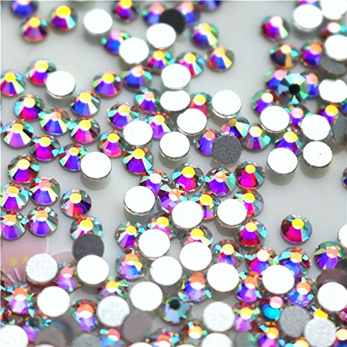 Pink Ribbon Double Crystals - NEW ThreadNanny CZECH Quality 10gross (1440pcs) HotFix Rhinestones Crystals - 5mm/20ss, AB Crystal Color
