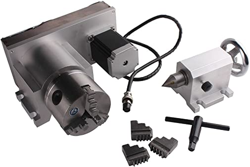 Sunwin CNC F Style A-Axis, 4th-Axis, Router Rotational Rotary Axis 3-Jaw 80mm Tailstock