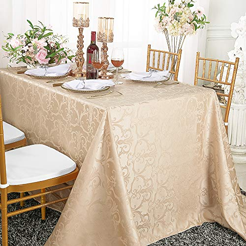 Wedding Linens Inc. 90 Inch x 132 Inch Rectangular Versailles Chopin Jacquard Damask Polyester Tablecloths Table Cover Linens for Restaurant Kitchen Dining Wedding Party Banquet Events - Champagne