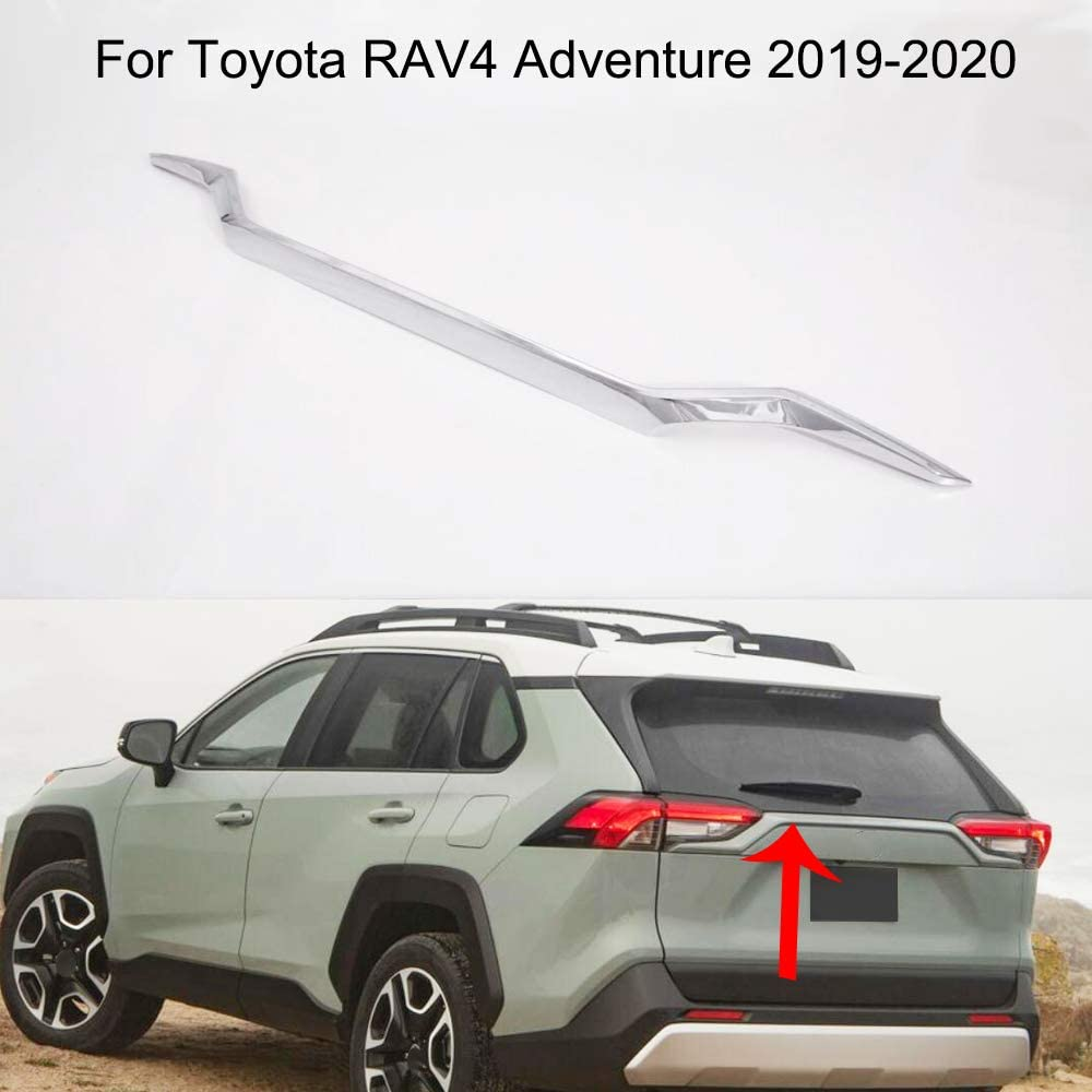 Yingchi 1Pcs Auto Chrome Car Rear Door Trunk Lid Protect Cover Trim for Toyota RAV4 Adventure 2019-2020