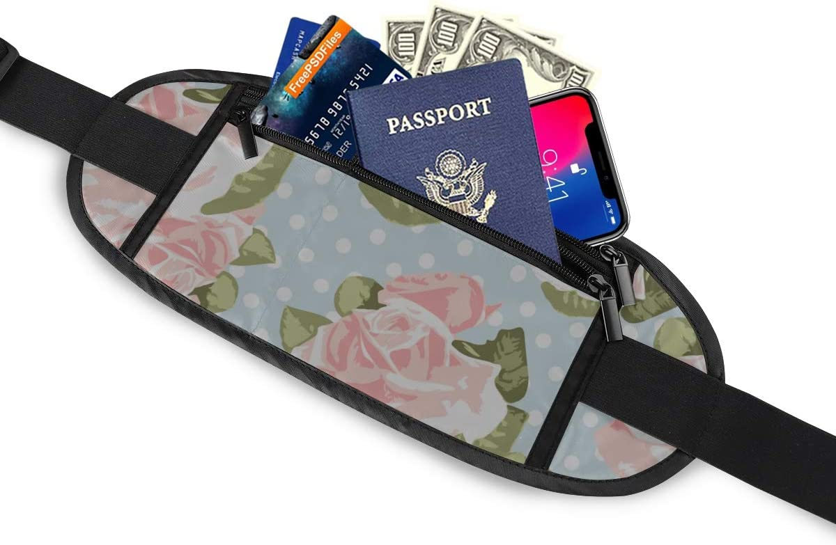 Beautiful Rose Pattern Blue Polka Running Lumbar Pack For Travel Outdoor Sports Walking Travel Waist Pack,travel Pocket With Adjustable Belt