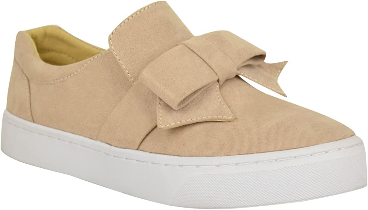 Womens Ladies Flat Bow Detail Trainers