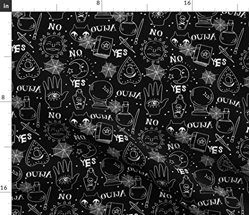 (Ouija Fabric - Ouija Halloween Spooky Ghost October Fall Pumpkin by Andrea Lauren Printed on Basic Cotton Ultra Fabric by The)